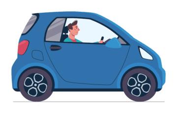 Imagem de um motorista guiando um carro azul e sua bateria funcionando perfeitamente